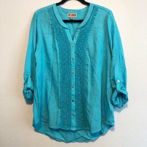 JM Collection Turquoise Blue Top